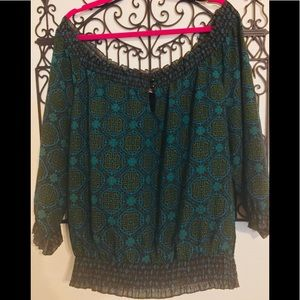 Tops - SO PRETTY VINTAGE TURQUOISE PRINT PEASANT TOP
